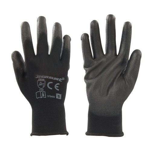 Silverline 578493 Black PU Coated Palm Safety Work Gloves Small